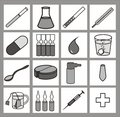 Healthcare iconset black-and-white Royalty Free Stock Photos