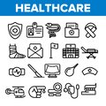 Healthcare Linear Vector Icons Set Thin Pictogram