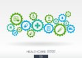 Healthcare mechanism concept. Abstract background with connected gears and icons for medical, health, care, medicine