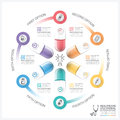 Healthcare And Medical Infographic With Pill Capsule Round Circle Step Diagram