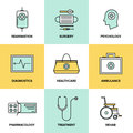 Healthcare and medicine flat icons set line of technology diagnostic equipment surgery tools psychology pharmacology ambulance Stock Photography