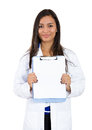 Healthcare professionals closeup portrait confident female health care professional doctor nurse holding clipboard up showing Stock Photography