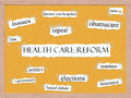Healthcare Reform Corkboard Word Concept Stock Images