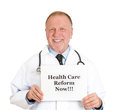 Healthcare reform now closeup portrait of senior mature health care professional doctor nurse with stethoscope hold health care Stock Image