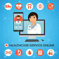 Healthcare service online. Medical consultation concept with fem