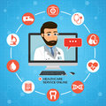 Healthcare service online. Medical consultation concept with mal
