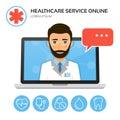 Healthcare service online. Medical consultation concept.