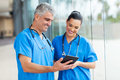 Healthcare workers tablet computer professional using Stock Photo