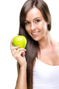 Healthful eating beautiful natural woman holds an apple Stock Photography
