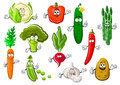 Healthful ripe farm vegetables set cartoon organic broccoli sweet orange carrot bright chilli and bell peppers succulent cucumber Stock Image