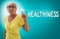 Healthiness touchscreen shown by senior concept Stock Photos