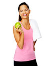 Healthy apple gym woman Stock Images