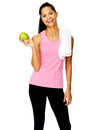 Healthy apple gym woman Royalty Free Stock Photo