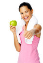 Healthy apple gym woman Stock Photos