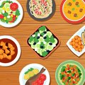 Healthy asian thai meal on table top. Vegetable, meat and fish food dishes vector illustration