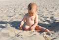 Healthy baby girl playing with sand on the beach eleven months old curious discovering and shells Stock Image