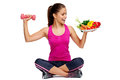 Healthy balanced lifestyle eating and exercise for weightloss diet concept Stock Photos