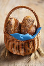 Healthy bread in basket Royalty Free Stock Images