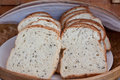 Healthy bread in basket focus at front left of bread whole wheat Royalty Free Stock Image