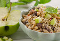 Healthy Breakfast with  apple and  muesli. Royalty Free Stock Photo