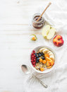 Healthy breakfast. Bowl of oat granola with yogurt Royalty Free Stock Photo