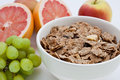 Healthy breakfast of bran flakes and fruit Stock Photo