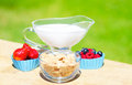 Healthy breakfast with cereals and berries blueberry raspberry strawberry milk selective focus Royalty Free Stock Photography