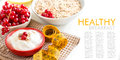 Healthy breakfast cereals with red currants and yogurt Royalty Free Stock Images