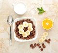 stock image of  Healthy Breakfast - chocolate cereal with banana