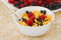 Healthy breakfast: corn flakes and berries Royalty Free Stock Photo
