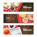 Healthy Breakfast Flat Horizontal Banners Set Royalty Free Stock Photo