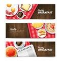 Healthy Breakfast Flat Horizontal Banners Set Royalty Free Stock Photo