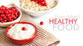 Healthy breakfast fresh berries cereals and natural yogurt or sour cream Royalty Free Stock Photography