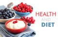 Healthy breakfast fresh berries and natural yogurt or sour cream Royalty Free Stock Images