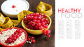 Healthy breakfast with fresh yogurt and berries red currants cereals measurement tape Stock Photo
