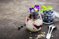 Healthy breakfast in a glass jar: yogurt, berry puree, whole grain cereal cereal, edible flowers, blueberries on a dark Royalty Free Stock Photo