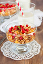 Healthy breakfast with granola and milk Stock Photo
