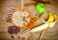 Healthy breakfast (healthy meal) - oatmeal and fruits Royalty Free Stock Photo