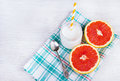 A healthy breakfast. Juicy grapefruit and homemade yogurt. Diet food. Detox and ease. Royalty Free Stock Photo