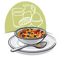 Healthy breakfast with muesli and berries Stock Photography