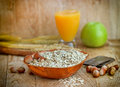 Healthy breakfast oat flakes oatmeal Royalty Free Stock Image