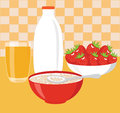 Healthy breakfast oatmeal with milk strawberries and orange juice Royalty Free Stock Image