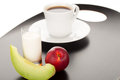 Healthy breakfast with peach melon glass of milk and cup of coffee Royalty Free Stock Photos