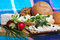 Healthy breakfast sandwich cottage cheese vegetables Stock Image
