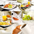 Healthy breakfast served to bed collage of six photos multiple images Stock Photos