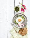 Healthy breakfast set. Fried egg with asparagus Royalty Free Stock Photo