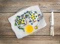 Healthy breakfast set with ricotta, fresh blueberries, honey Royalty Free Stock Photo