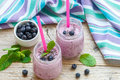 Healthy Breakfast. Summer dessert. Smoothies with homemade yoghurt, blueberries and Chia seeds Royalty Free Stock Photo