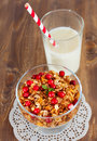 Healthy breakfast whith granola and milk Stock Photos