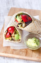 Healthy burrito wraps with roasted vegetables Royalty Free Stock Photo